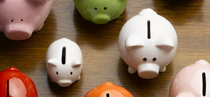 Colorful piggy banks