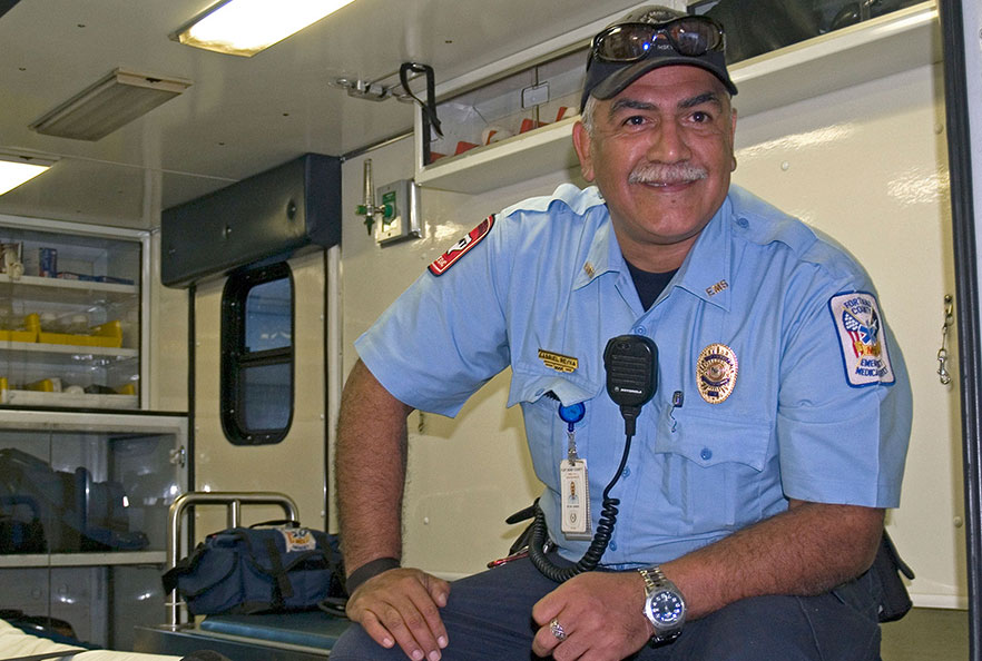 First responder in ambulance